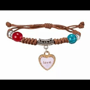 Love Heart Pendant Adjustable Braided Bracelet